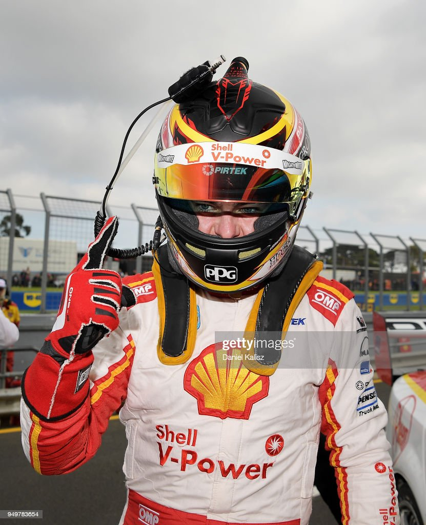 Scott McLaughlin driver of the #17 Shell V-Power Racing Team Ford Falcon FGX celebrates after taking pole position for race 10 during the Supercars Phillip Island 500 at Phillip Island Grand Prix Circuit on April 22, 2018 in Phillip Island, Australia.