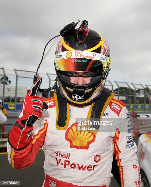 Scott McLaughlin driver of the Shell VPower Racing Team Ford Falcon FGX celebrates after taking pole position for race 10 during the Supercars...