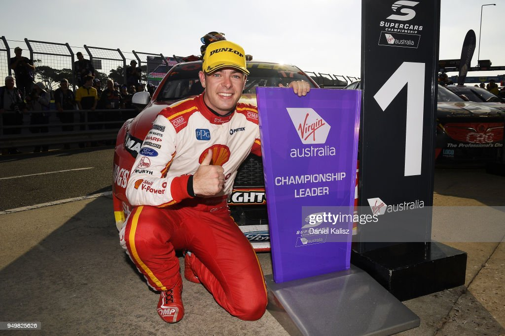 Scott McLaughlin driver of the #17 Shell V-Power Racing Team Ford Falcon FGX celebrates after winning race 10 for the Supercars Phillip Island 500 at Phillip Island Grand Prix Circuit on April 22, 2018 in Phillip Island, Australia.
