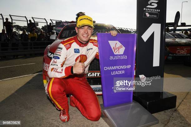 Scott McLaughlin driver of the Shell VPower Racing Team Ford Falcon FGX celebrates after winning race 10 for the Supercars Phillip Island 500 at...