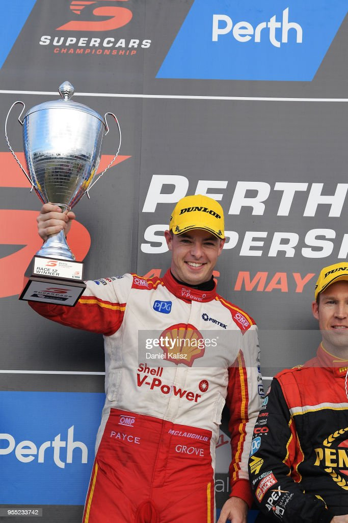 Scott McLaughlin driver of the #17 Shell V-Power Racing Team Ford Falcon FGX celebrates after winning race 12 during the Supercars Perth SuperSprint at Barbagello Raceway on May 6, 2018 in Perth, Australia.
