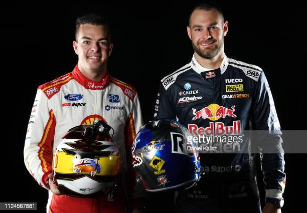 Scott McLaughlin driver of the Shell VPower Racing Team Ford Mustang and Shane van Gisbergen driver of the Red Bull Holden Racing Team Holden...
