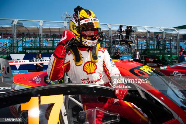 Scott McLaughlin driver of the Shell VPower Racing Team Ford Mustang celebrates after winning race 4 for the Melbourne 400 Supercars Championship...