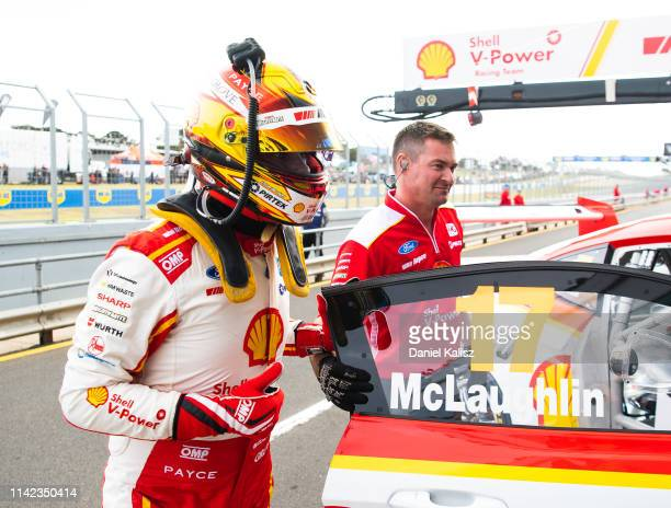Scott McLaughlin driver of the Shell V-Power Racing Team Ford Mustang celebrates after taking pole position during the Phillip Island 500 as part of...