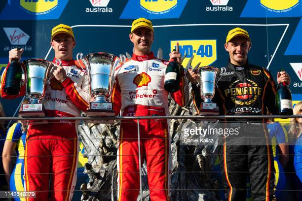 Scott McLaughlin driver of the Shell V-Power Racing Team Ford Mustang, Fabian Coulthard driver of the Shell V-Power Racing Team Ford Mustang and...