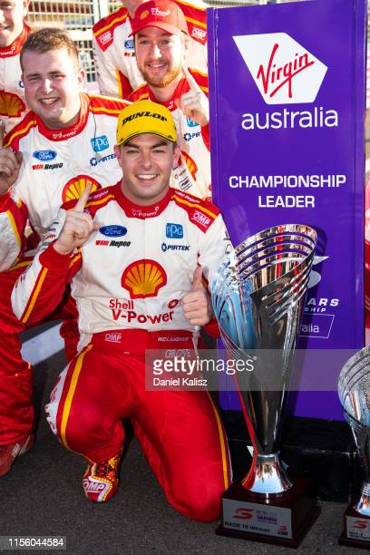 Scott McLaughlin driver of the Shell VPower Racing Team Ford Mustang celebrates after winning race 1 for the Darwin Triple Crown round of the...