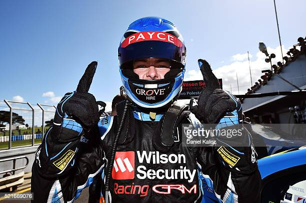 Scott McLaughlin driver of the Wilson Security Racing GRM Volvo S60 reacts after taking pole position for race 2 of the V8 Supercars Phillip Island...