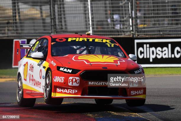 Scott McLaughlin drives the DJR Team Penske Ford Falcon FGX during the Clipsal 500 which is part of the Supercars Championship at Adelaide Street...