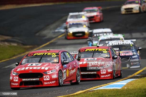 Scott McLaughlin drives the Shell VPower Racing Team Ford Falcon FGX during race for grid 2 for the Supercars Sandown 500 at Sandown International...