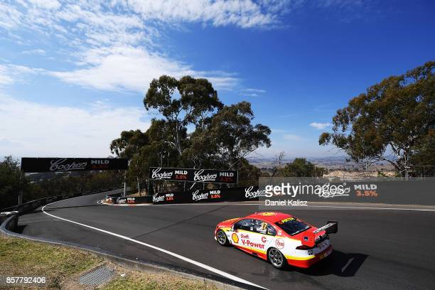 Scott McLaughlin drives the Shell VPower Racing Team Ford Falcon FGX during practice ahead of this weekend's Bathurst 1000 which is part of the...