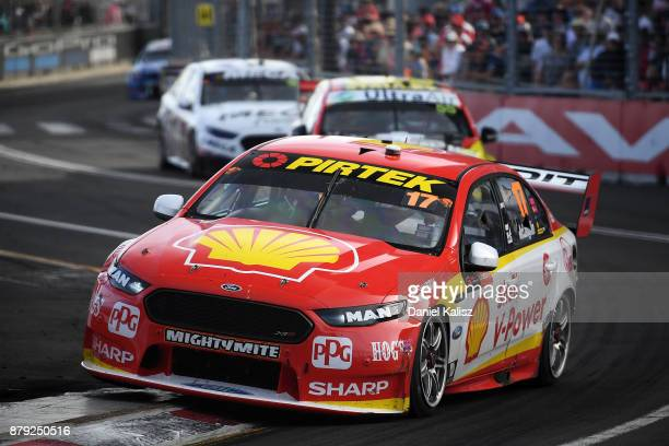 Scott McLaughlin drives the Shell VPower Racing Team Ford Falcon FGX during race 26 for the Newcastle 500 which is part of the Supercars Championship...