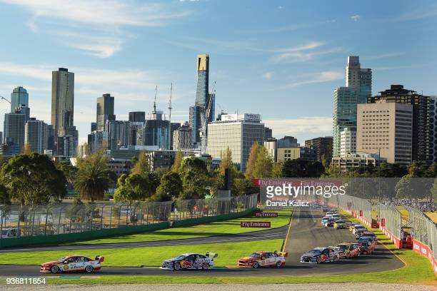 Scott McLaughlin drives the Shell V-Power Racing Team Ford Falcon FGX leads during race 1 for the Supercars Australian Grand Prix round at Albert...