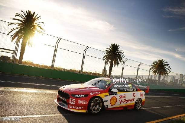 Scott McLaughlin drives the Shell V-Power Racing Team Ford Falcon FGX during race 1 for the Supercars Australian Grand Prix round at Albert Park on...