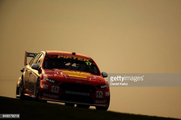 Scott McLaughlin drives the Shell VPower Racing Team Ford Falcon FGX during the Supercars Phillip Island 500 at Phillip Island Grand Prix Circuit on...