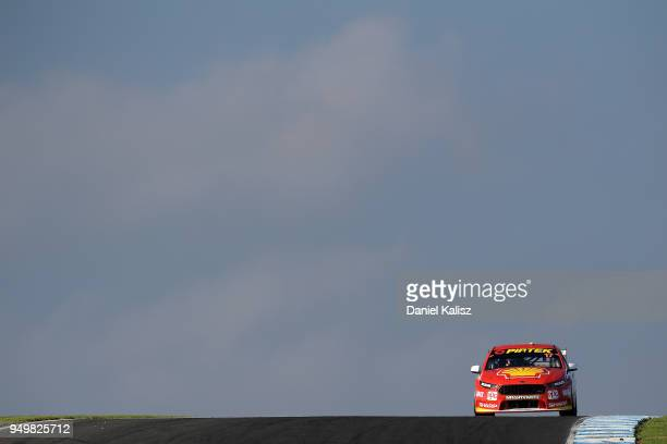 Scott McLaughlin drives the Shell VPower Racing Team Ford Falcon FGX during race 10 for the Supercars Phillip Island 500 at Phillip Island Grand Prix...