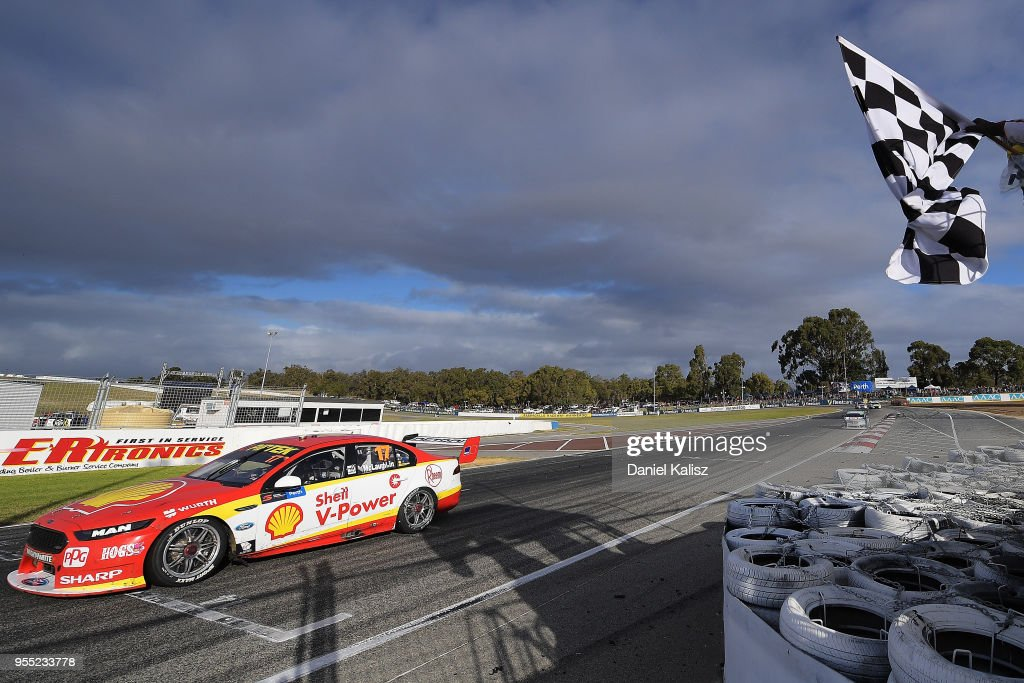 Scott McLaughlin drives the #17 Shell V-Power Racing Team Ford Falcon FGX takes the chequered flag to win race 12 for the Supercars Perth SuperSprint at Barbagello Raceway on May 6, 2018 in Perth, Australia.