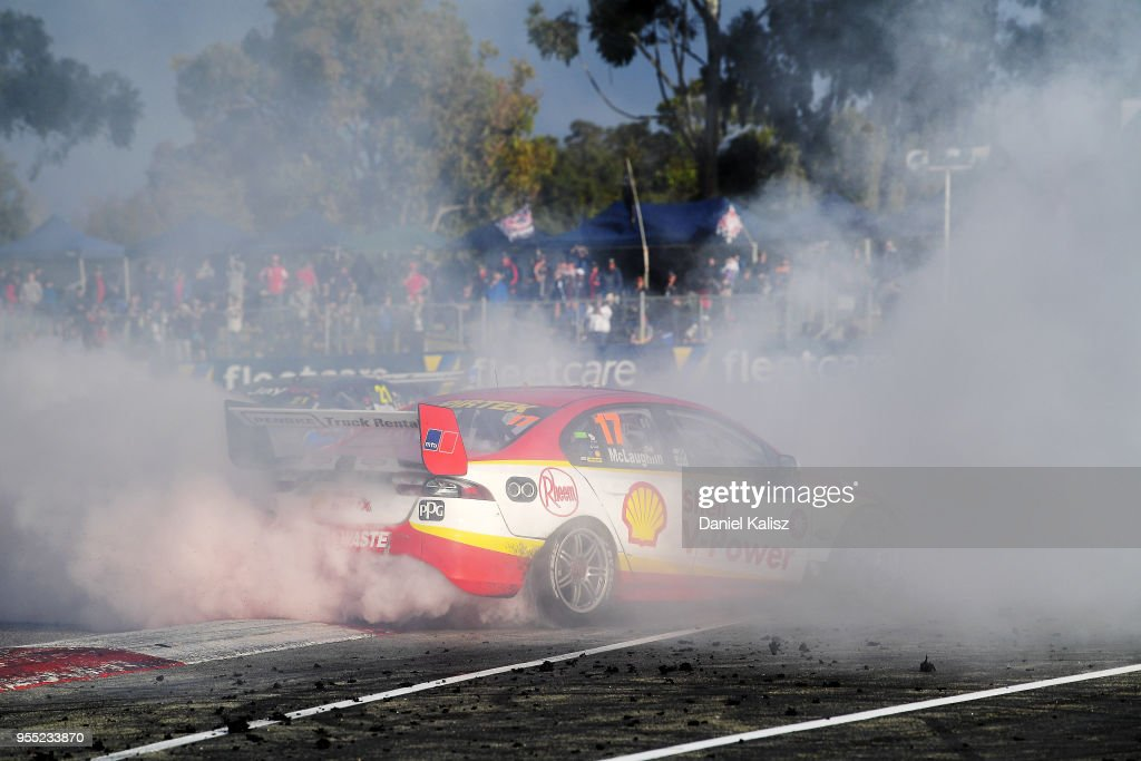 Scott McLaughlin drives the #17 Shell V-Power Racing Team Ford Falcon FGX celebrates after winning race 12 for the Supercars Perth SuperSprint at Barbagello Raceway on May 6, 2018 in Perth, Australia.
