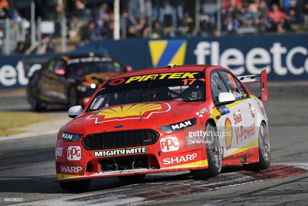 Scott McLaughlin drives the #17 Shell V-Power Racing Team Ford Falcon FGX during race 12 for the Supercars Perth SuperSprint at Barbagello Raceway on May 6, 2018 in Perth, Australia.