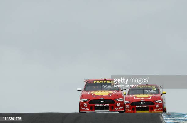 Scott McLaughlin drives the Shell V-Power Racing Team Ford Mustang closely followed by teammate Fabian Coulthard driving the Shell V-Power Racing...