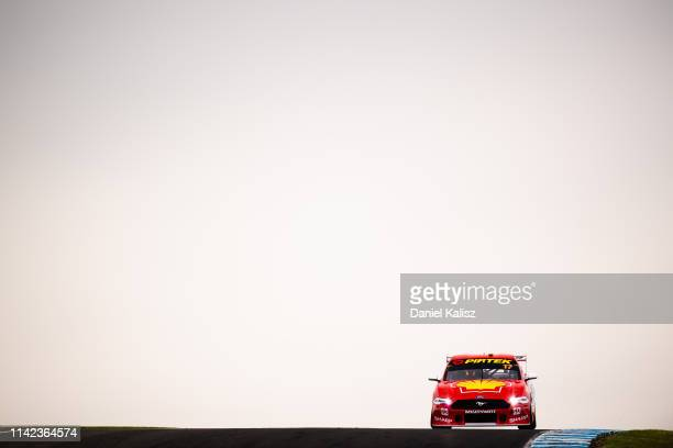 Scott McLaughlin drives the Shell V-Power Racing Team Ford Mustang during the Phillip Island 500 as part of the Supercars Championship season at...