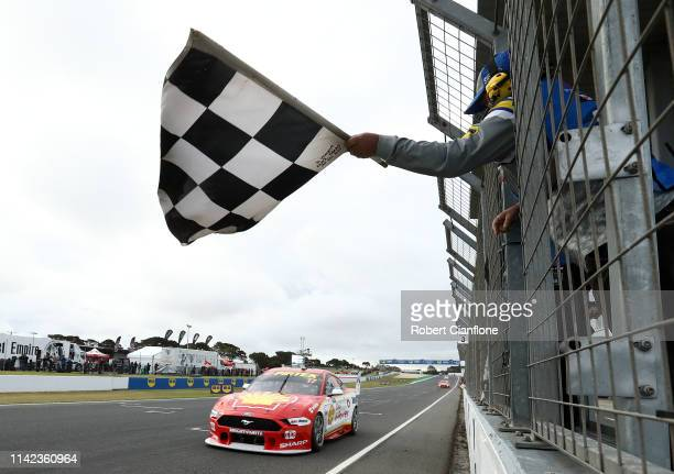 Scott McLaughlin drives the Shell V-Power Racing Team Ford Mustang to victory during the Phillip Island 500 as part of the Supercars Championship...