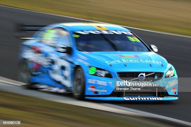Scott McLaughlin drives the Valvoline Racing GRM Volvo during race 28 which is round nine of the V8 Supercar Championship Series at Sydney Motorsport...