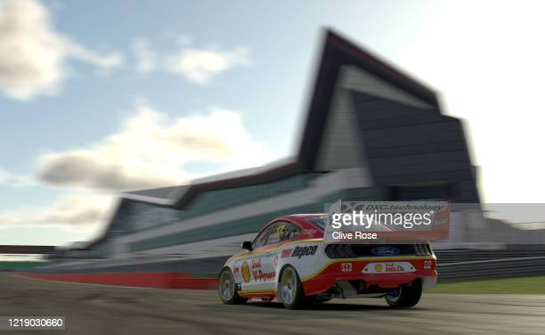 Scott McLaughlin driving the Shell VPower Racing Ford Mustang in Race 4 during round 2 of the Supercars All Stars Eseries at Silverstone on April 15...