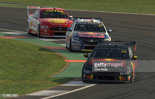 Scott McLaughlin driving the Shell VPower Racing Ford Mustang Shane van Gisbergen driving the Red Bull Holden Racing Team Holden Commodore ZB and Max...