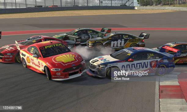 Scott McLaughlin driving the Shell VPower Racing Team Ford Mustang and Lando Norris driving the Walkinshaw Andretti United Holden ZB Commodore...