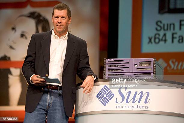 Scott McNealy Chairman and CEO of Sun Microsystems delivers a keynote speech at the Oracle Open World 2005 conference at the Moscone Center on...