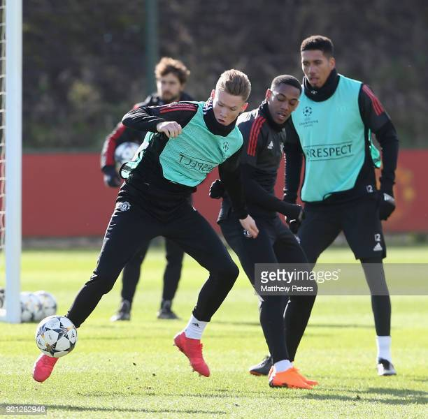 Scott McTominay and Anthony Martial of Manchester United in action during a first team training session at Aon Training Complex on February 20 2018...