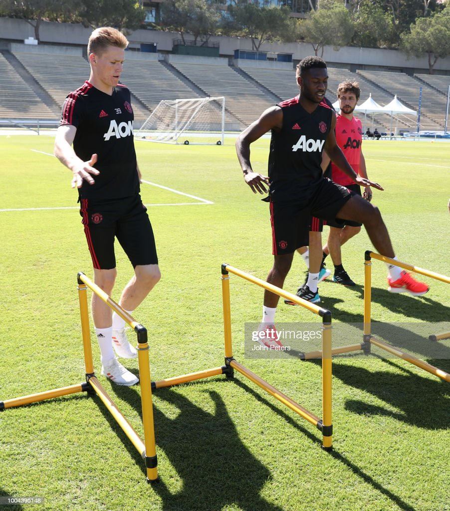 Scott McTominay and Tim Fosu-Mensah of Manchester United in action during a Manchester United pre-season training session at UCLA on July 23, 2018 in Los Angeles, California.