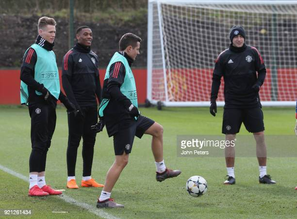 Scott McTominay Anthony Martial and Ander Herrera of Manchester United in action during a first team training session at Aon Training Complex on...