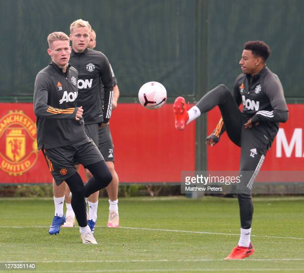Scott McTominay Donny van de Beek Jesse Lingard of Manchester United in action during a first team training session at Aon Training Complex on...