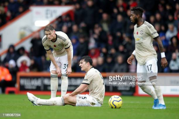 Scott McTominay Harry Maguire and Fred of Manchester United during the Premier League match between AFC Bournemouth and Manchester United at Vitality...