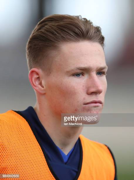 Scott McTominay is seen during a training session prior to the International Friendly match between Scotland and Costa Rica at Orium Sports Centr on...