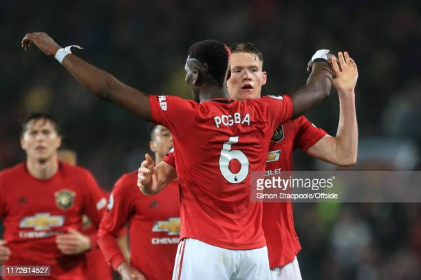 Scott McTominay of Man Utd celebrates scoring the opening goal with Paul Pogba during the Premier League match between Manchester United and Arsenal...