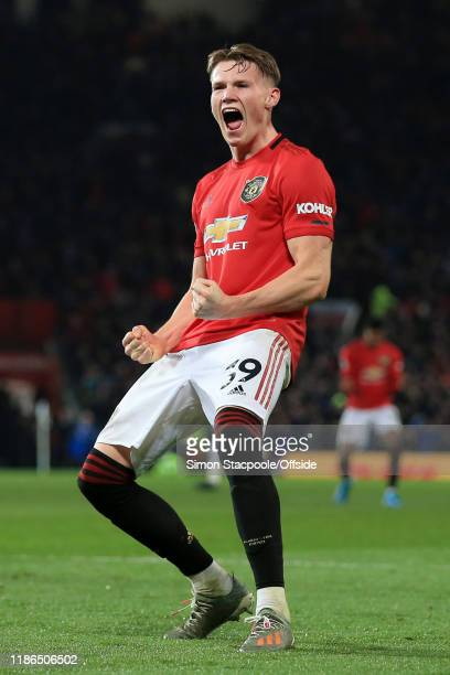 Scott McTominay of Man Utd celebrates victory after the Premier League match between Manchester United and Tottenham Hotspur at Old Trafford on...