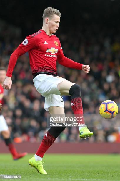 Scott McTominay of Man Utd during the Premier League match between Fulham FC and Manchester United at Craven Cottage on February 9 2019 in London...