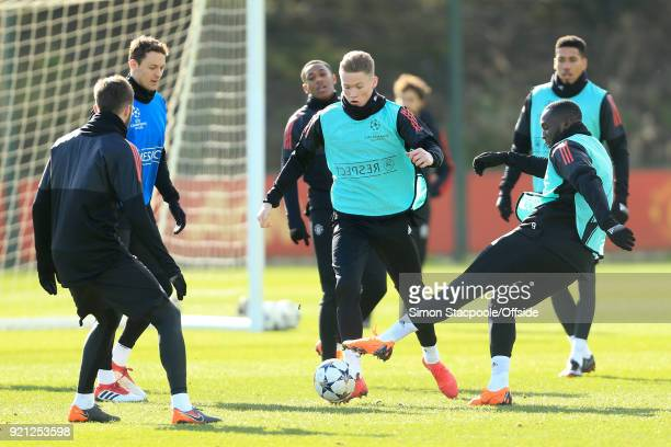 Scott McTominay of Man Utd in action during a training session ahead of their UEFA Champions League match against Sevilla at the Aon Training Complex...