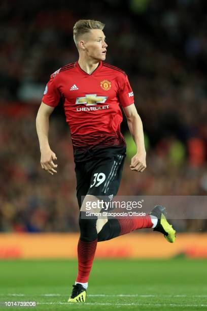 Scott McTominay of Man Utd in action during the Premier League match between Manchester United and Leicester City at Old Trafford on August 10 2018...