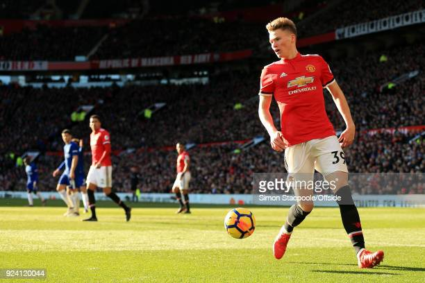 Scott McTominay of Man Utd in action during the Premier League match between Manchester United and Chelsea at Old Trafford on February 25 2018 in...