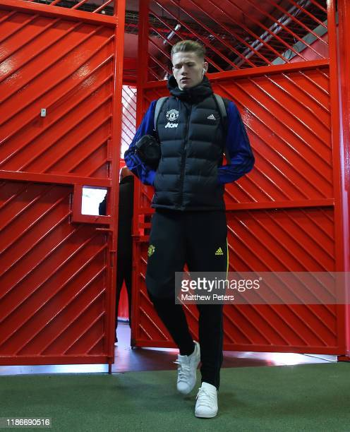 Scott McTominay of Manchester United arrives ahead of the Premier League match between Manchester United and Brighton Hove Albion at Old Trafford on...