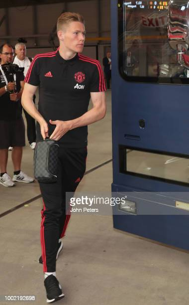 Scott McTominay of Manchester United arrives ahead of the preseason friendly match between Manchester United and Club America at University of...