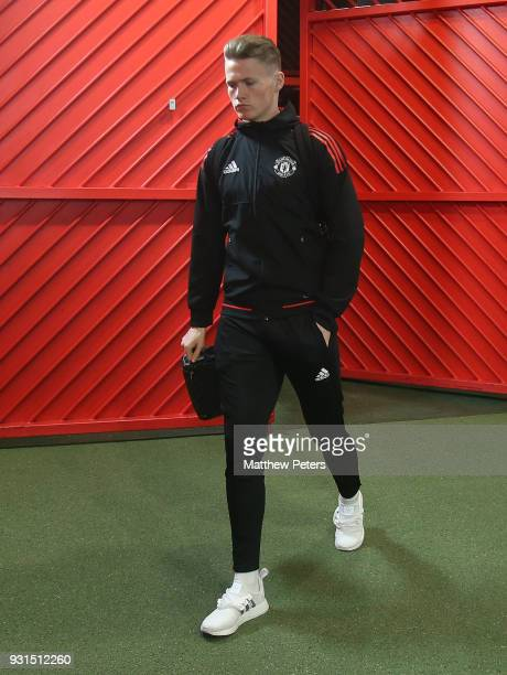 Scott McTominay of Manchester United arrives ahead of the UEFA Champions League Round of 16 Second Leg match between Manchester United and Sevilla FC...