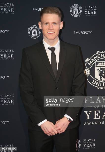 Scott McTominay of Manchester United arrives at Old Trafford ahead of the club's annual Player of the Year awards at Old Trafford on May 1 2018 in...