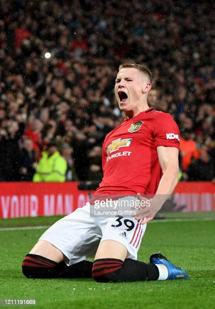 Scott McTominay of Manchester United celebrates after he scores his sides second goal during the Premier League match between Manchester United and...