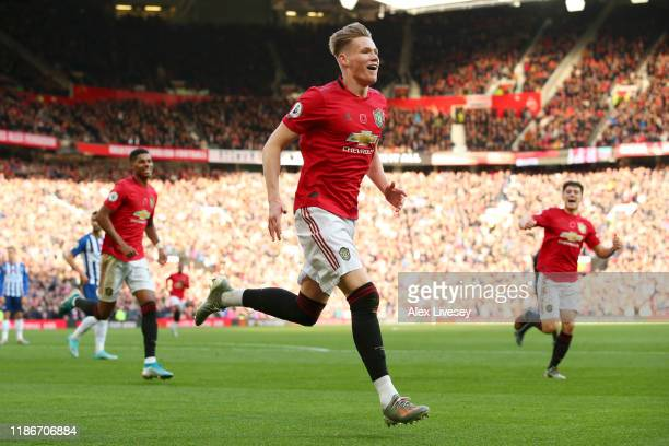 Scott McTominay of Manchester United celebrates after his team's second goal during the Premier League match between Manchester United and Brighton...