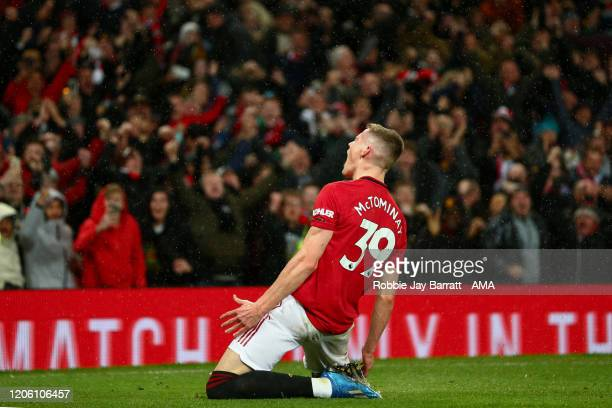 Scott McTominay of Manchester United celebrates after scoring a goal to make it 2-0 during the Premier League match between Manchester United and...