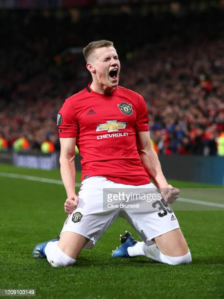 Scott McTominay of Manchester United celebrates after scoring his team's third goal during the UEFA Europa League round of 32 second leg match...
